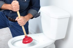 Fixing a toilet using a plunger